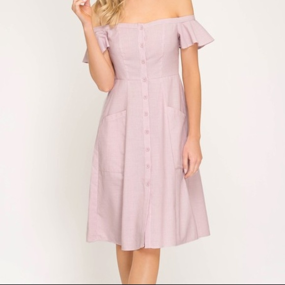 06d4b61736d30 JUST IN STRIPED BUTTON DOWN OFF SHOULDER DRESS